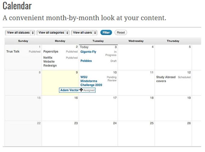 Edit Flow calendar