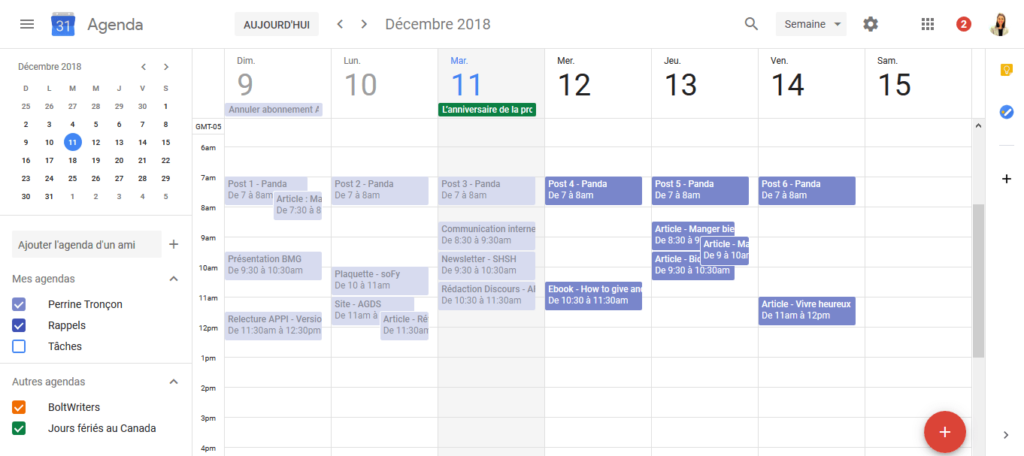 Google calendar-calendrier editorial